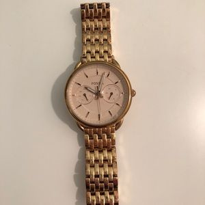 Rose Gold Fossil Watch - Like new!!